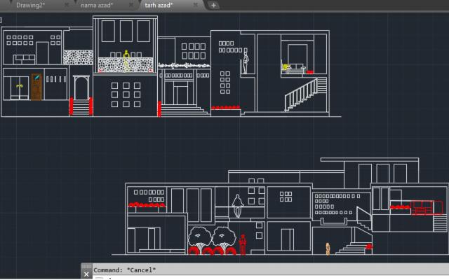 نقشه های(پلان-نما-مقطع و.)طرح و یا خونه ی شمارو  طراحی کنم وتوی اتوکد ترسیم کنم